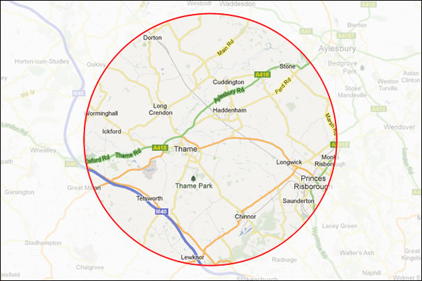 Driving lessons map area including Thame, chinnor and Princes Risborough